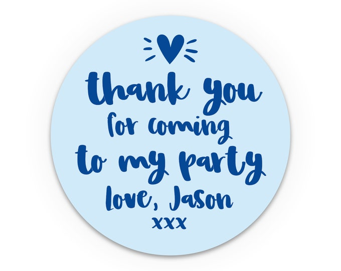 Personalised stickers birthday, Thank you for coming to my party stickers for party favor bags, Birthday party labels stickers for parties