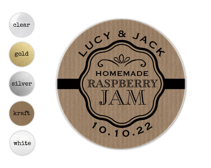 Personalized wedding jam favor sticker, Personalised sticker for wedding favours, Custom favor stickers, Jam packed with love labels