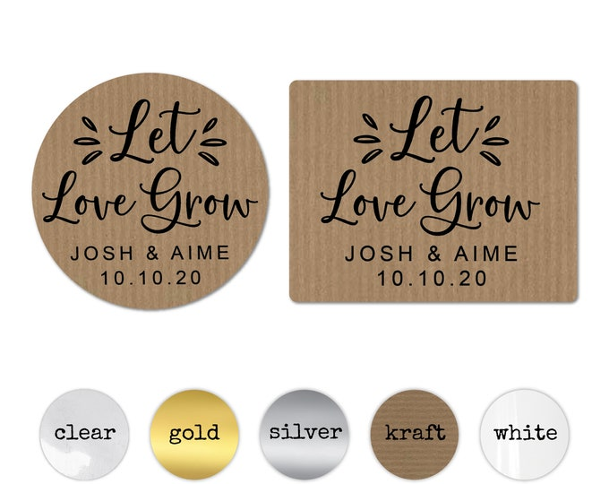 Let love grow wedding favor stickers custom wedding favor labels, Hen party favour, Let love grow tag, Succulent favor stickers