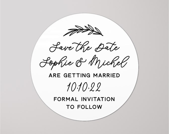 Custom wedding save the dates stickers labels, Personalized sticker labels, Unique rustic save the date ideas, Custom name stickers
