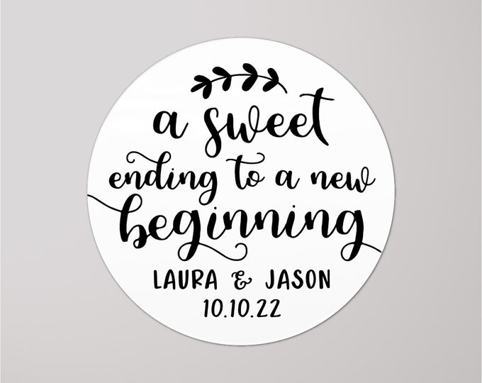 Personalised sticker labels wedding thank you favors stickers, Custom design stickers, A sweet ending to a new beginning graduation stickers