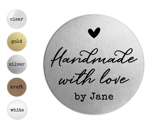 Handmade With Love Business Sticker Sheet, Custom Etsy Product Labels, Handcrafted Sticker Decals, Personalized Package Seals for Products