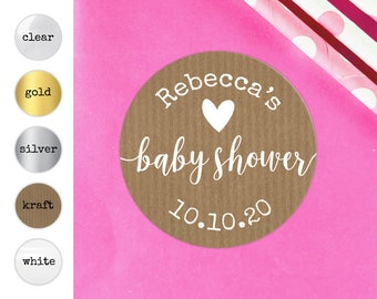 Kraft baby shower favors gift bag stickers for baby shower, Baby shower labels