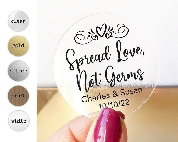 Hand sanitizer wedding custom name stickers, Hand sanitiser personalised label, Hand gel wedding sticker, Custom thank you favor stickers