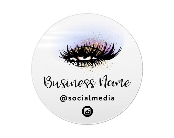 Eyelash extension label design logo sticker, Eyelash logo business sticker, Lashes custom logo sticker, Business lash logo stickers