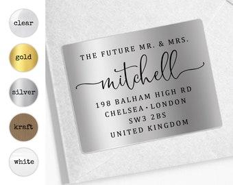 Future mr and mrs return address calligraphy sticker, Future mr mrs label, Engagement sticker, Custom return rsvp address label