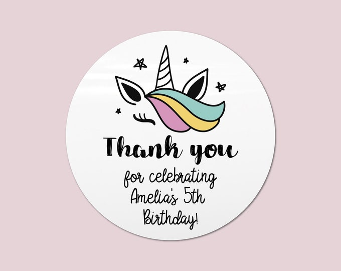 Unicorn party favour stickers for birthday, Thank you labels birthday party, Unicorn stickers for birthday, Round stickers thank you