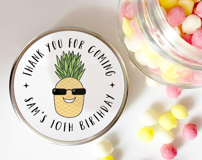 Pineapple thank you for coming stickers, Birthday party stickers for party bags, Round sticker labels,