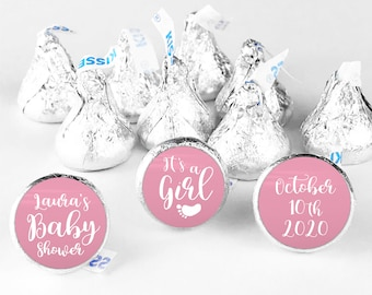 Its a girl hershey kiss stickers for baby shower favors, Hershey kiss labels, Shower hershey kisses, Baby footprints custom stickers