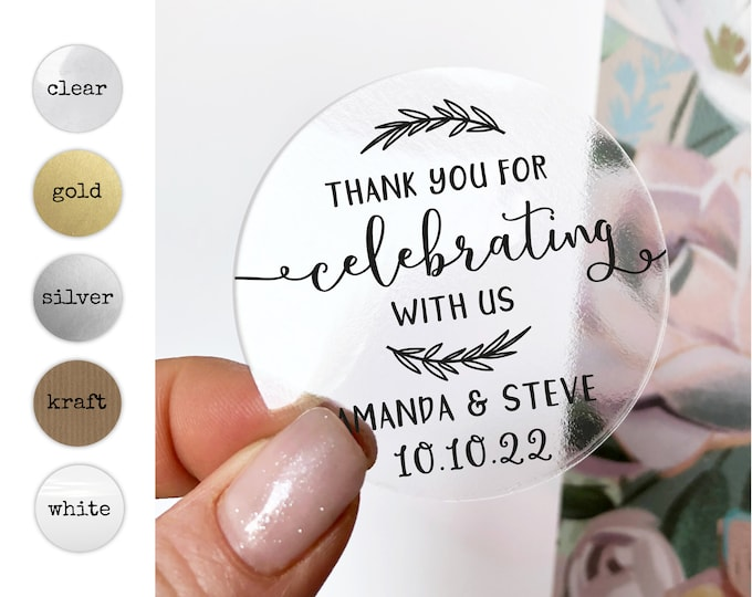 Custom wedding thank you tags stickers labels for jars, Personalized mason jar stickers, Thanks for coming stickers for favors