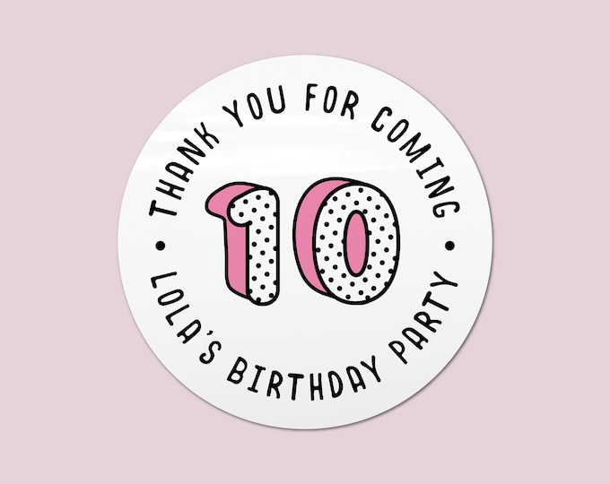 Girls party favours personalized stickers birthday, Personalised sticker labels, Round gift sticker, Thank you stickers birthday party
