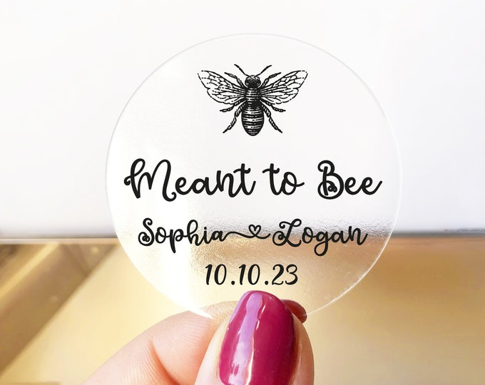 Wedding favor sticker sheet custom labels meant to bee wedding stickers, Custom honey labels, Bee sticker labels for jars - RW36