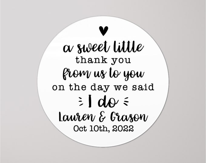 Custom wedding a sweet thank you stickers labels, Round love is sweet stickers for wedding favors, Personalised thank you tags