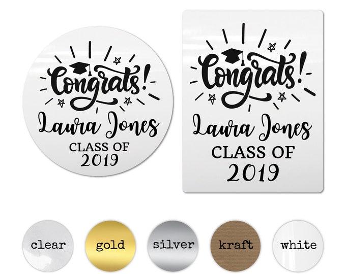 Custom graduation sticker labels, Graduation party stickers, Graduation favor stickers, College 2019 graduation gift, High school grad