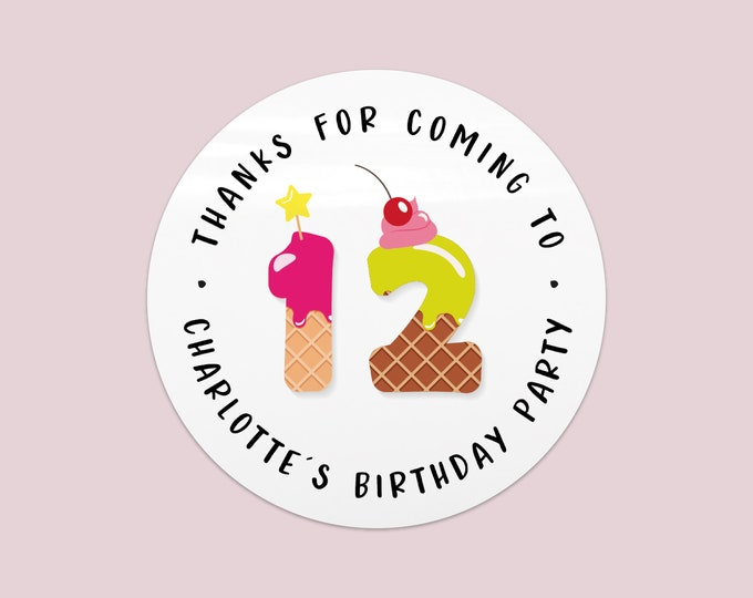 Thank you stickers personalised sticky labels, Personalised labels birthday party favor stickers, Happy Birthday labels stickers