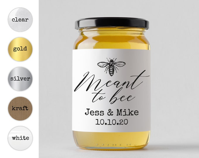 Meant To Bee Wedding Favor Stickers, Personalized Bridal Shower Label, Custom Kraft Wedding Decals, Square Sticker Labels, Round Favor Decal