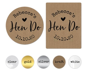 Personalised hen party sticker, Mini Champagne label, Hen do accessories, Hen do sticker large, Hen party round stickers, Team bride