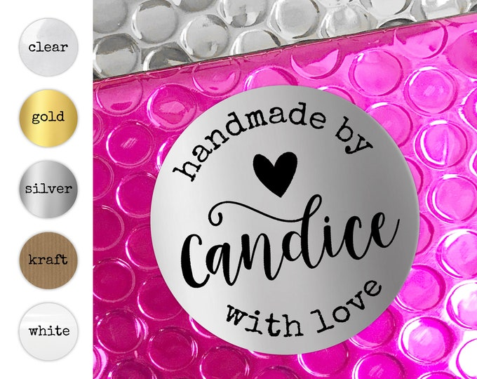 Handmade With Love Round Kraft Stickers, Personalized Sticker Sheets, Custom Business Labels, Colorful Packaging Decals, Envelope Seals