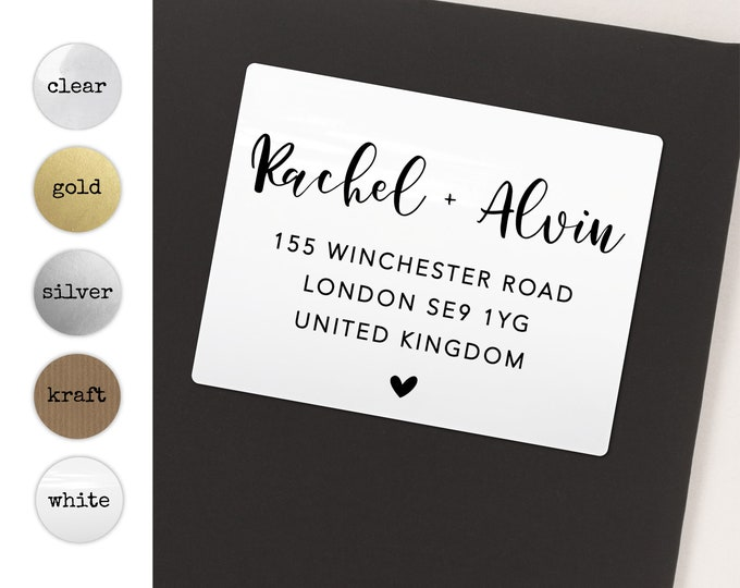 Return address labels, Personalized sticker labels, Return address for wedding, 20 stickers