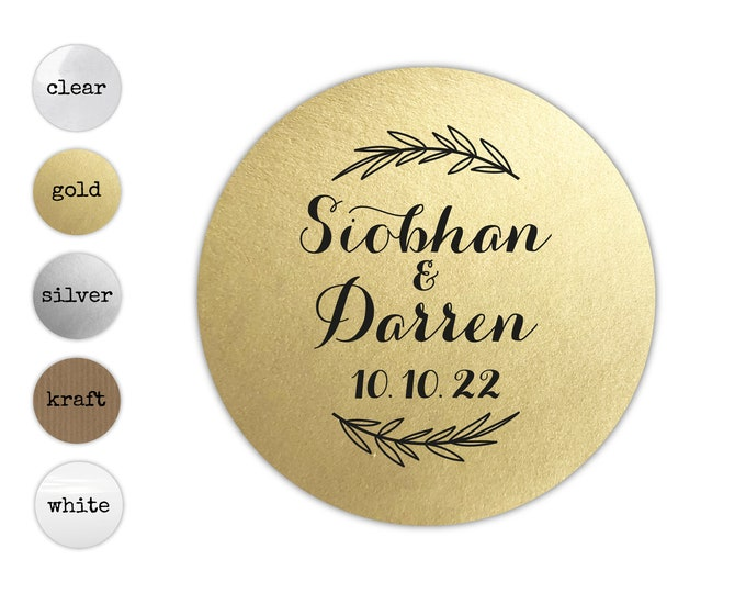 Personalized Name & Date Wedding Stickers, Invitation Envelope Seals, Thank You Card Labels, Wedding Favor Tags, Bridal Shower Sticker Label