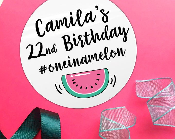 One in a melon personalised stickers birthday, Thank you for coming to my party stickers for party favor bags, Birthday party labels