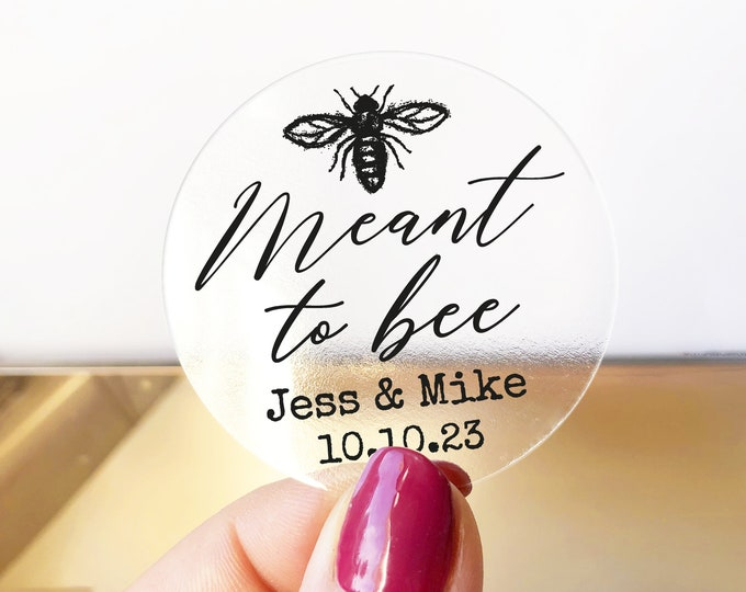 Wedding favor sticker sheet custom labels meant to bee wedding stickers, Custom honey labels, Bee sticker labels for jars - RW35