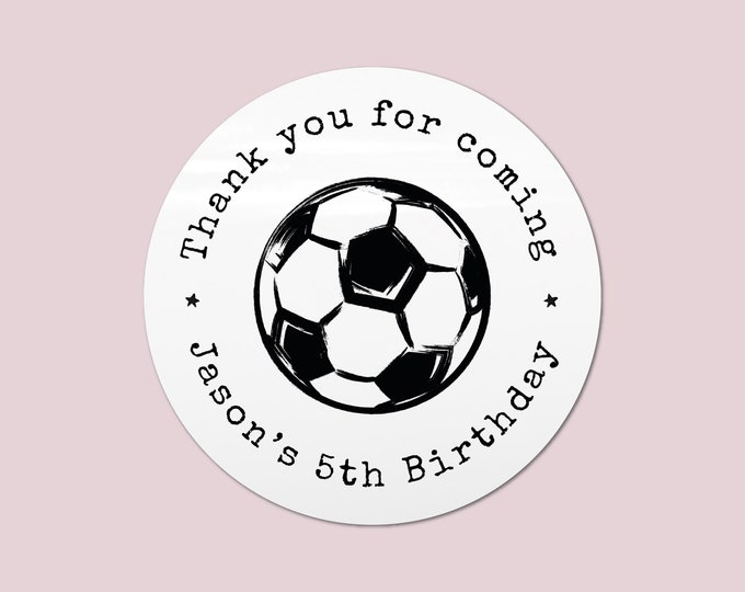 Football birthday party favor stickers kid party favor, Happy Birthday party favor sticker, Custom birthday sticker, Round gift sticker BP13