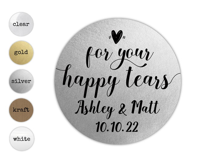 For your happy tears stickers happy tears labels, Personalised wedding stickers, Happy tears tissues sticker, Personalized round stickers