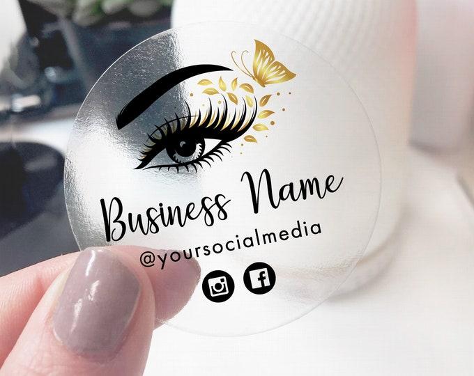 Custom logo sticker business logo stickers sheet, Eyelash extension label design logo sticker, Eyelash logo business sticker - ES01