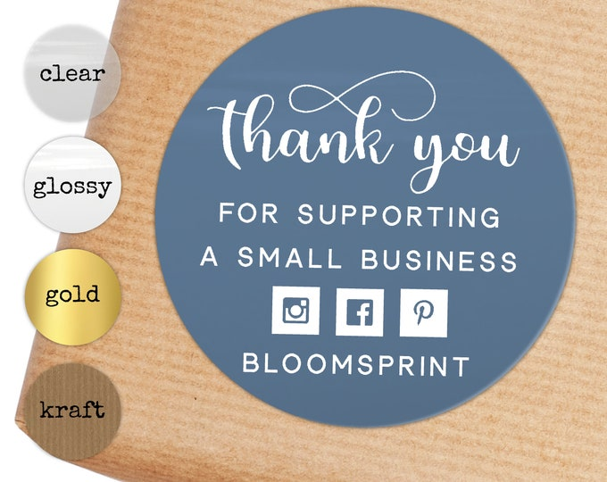 Thank you for supporting a small business stickers, Thank you packaging stickers, Custom sticker labels for envelopes, Small business label