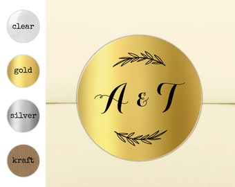 Wedding invitation stickers for envelopes, Personalised wedding stickers, Round gold stickers, Double initial seal invitation seals