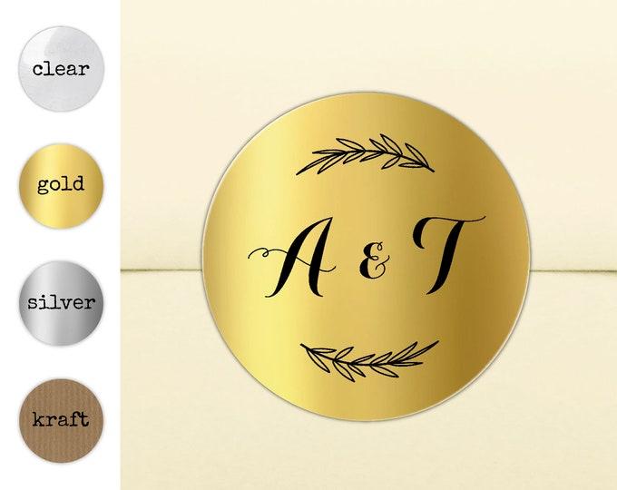 Wedding invitation stickers for envelopes, Personalised wedding stickers, Round gold stickers, Double initial seal invitation seals