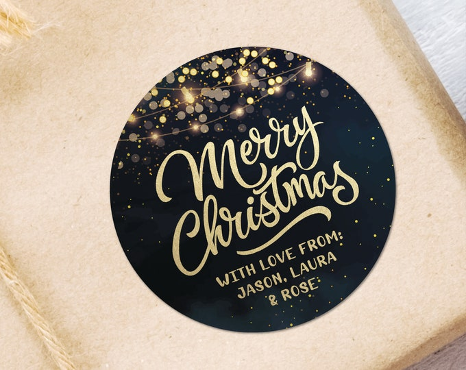 Custom Merry Christmas Gift Tags Packaging Stickers, Holiday Winter Stickers, Happy Holiday Christmas Stickers, Personalised Sticker Labels