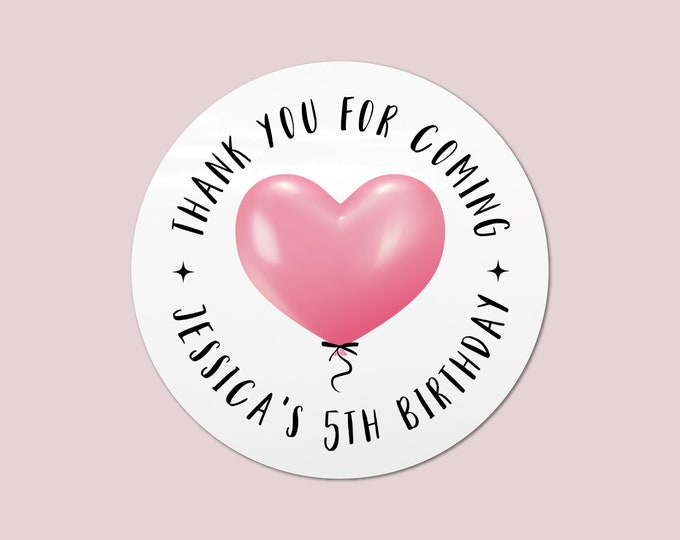 Happy birthday party stickers for favors, Thank you for coming to my party labels, Happy birthday stickers, Girls party favours