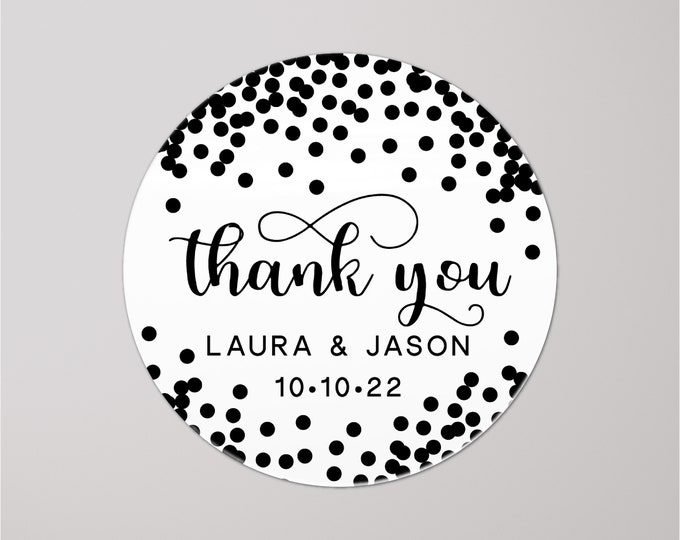Custom wedding birthday thank you stickers tags, Personalized party favor stickers, Graduation thank you labels, Baby shower round stickers