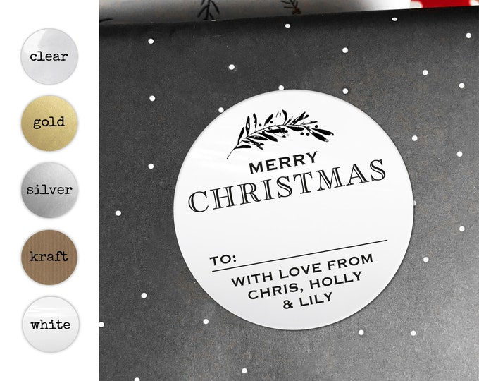 Christmas Gift Tags Personalized Merry Christmas Stickers Labels for Handmade Items Unique Stickers Favors Name Tag Stickers Christmas Gift