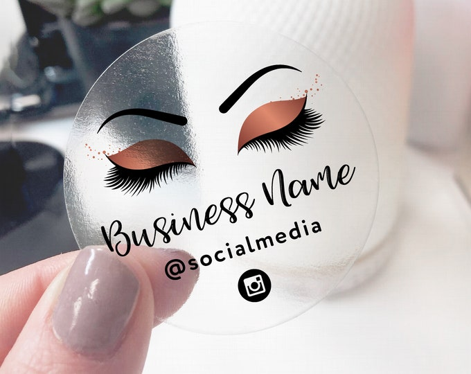 Custom false eyelashes logo sticker design business logo lash extensions elegant logo, Makeup artist logo - ES02