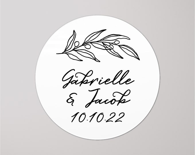 Wedding thank you name stickers personalised labels, Custom stick on labels, Wedding decal tags, Round date stickers