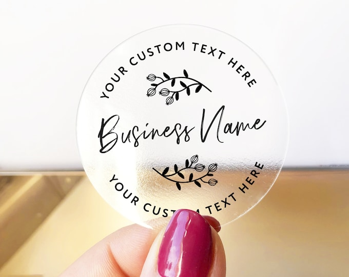 Custom business logo branding clear stickers labels, Clear Business Logo Labels, Packaging Supplies for Etsy Shops - BS32