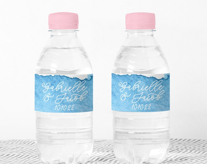 Personalized custom water bottle party favors labels, Waterproof party favor stickers, Waterbottle wraps, Water bottle stickers girls