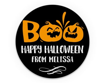 Halloween stickers, Boo sticker, Halloween favor bag stickers, Trick or treat stickers labels, Party favor labels, Personalised stickers