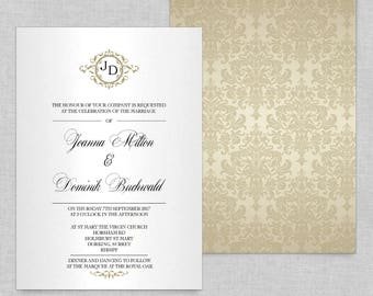 Wedding invitation template, Wedding invitations online, Monogram wedding invitations templates, Wedding invites with rsvp