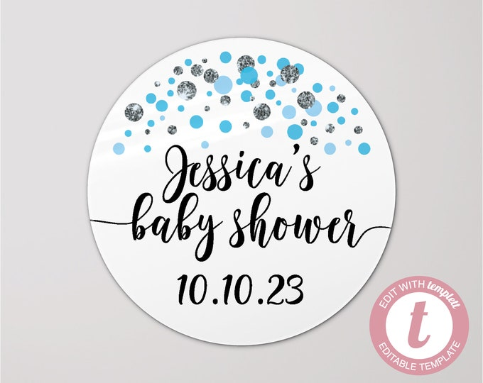 DIGITAL personalized baby shower stickers, Baby shower labels, Thank you stickers, Baby shower favors, Shower favor stickers, Round stickers
