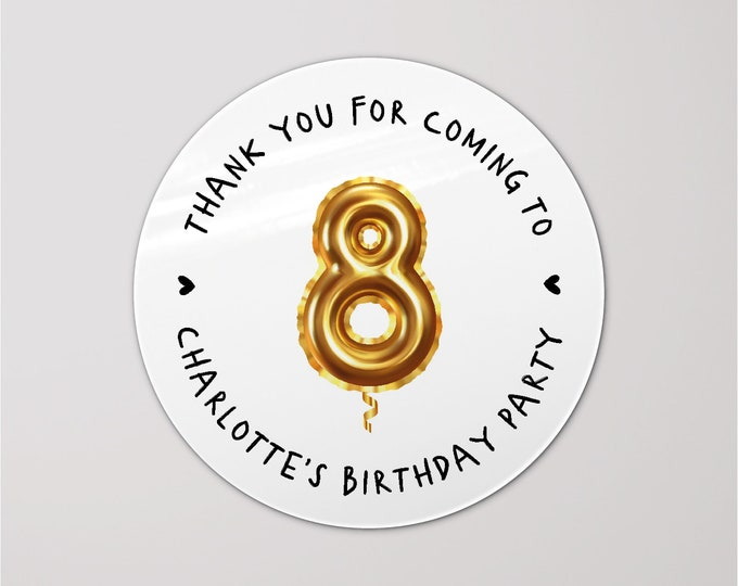 Round stickers rose gold personalised stickers for birthdays, Thank you for coming to our party stickers,  Girls party favors stickers