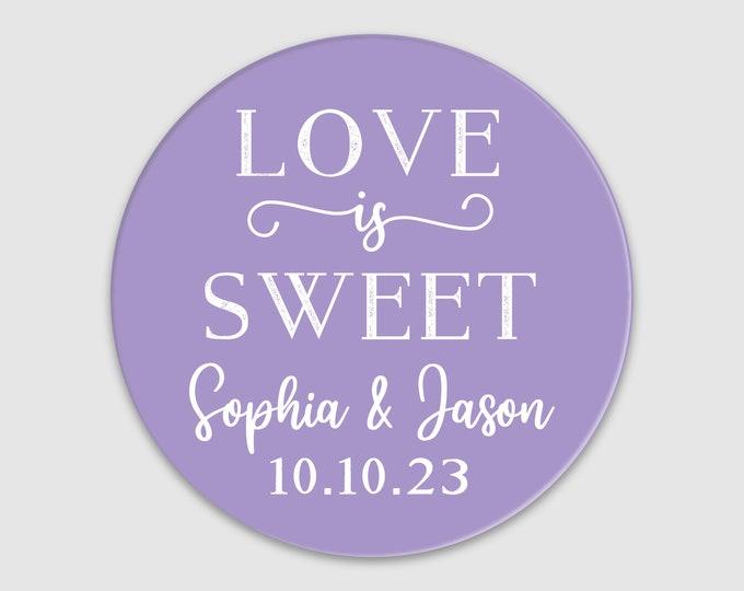Love is sweet wedding stickers for mason jars, Wedding stickers for favours, Wedding labels personalized custom stickers for jam jars
