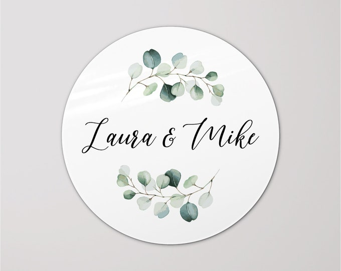Custom wedding favors thank you round labels stickers, Personalized wedding party gifts sticker, Circle name sticker