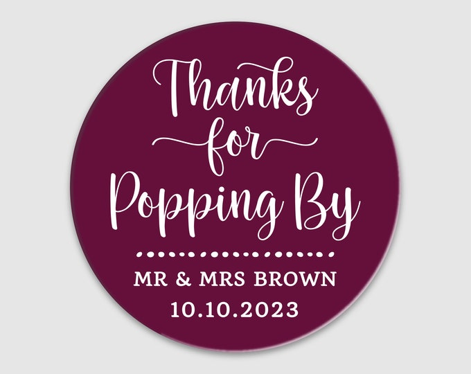 Round graduation stickers for popcorn, Baby shower thank you stickers, Custom Thanks For Popping By Stickers