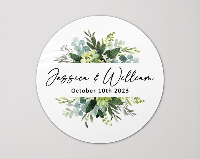 Custom name wedding favors gift labels stickers sheet, Personazlied floral circle stickers, Envelope stickers seals