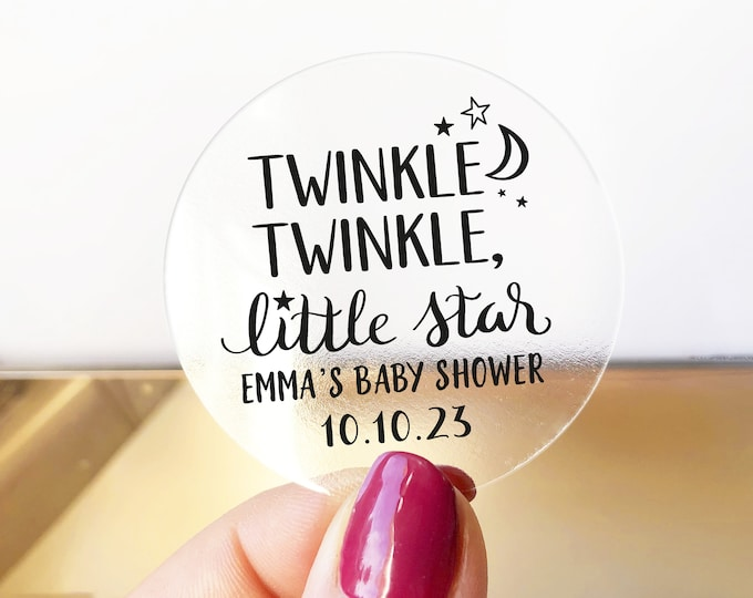 Twinkle twinkle baby shower custom thank you gift bag stickers, Thank you round stickers, Clear circle stickers, Baby shower favors