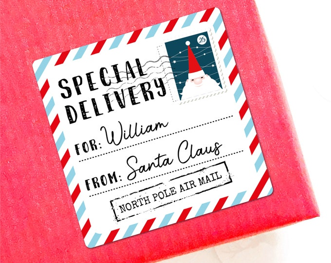 Merry Christmas from Santa Claus custom name labels stickers sheet, Santa special delivery, North pole post office, From santa sticker